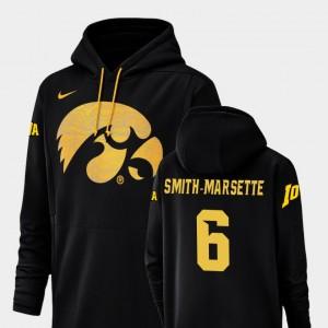For Men's #6 Black Ihmir Smith-Marsette College Hoodie Champ Drive Football Performance Iowa Hawkeye
