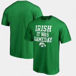 College T-Shirt Irish It Was Gameday Kelly Green St. Patrick's Day Men's Iowa Hawk