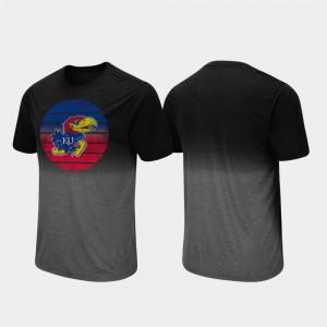 College T-Shirt Dip Dye Mens Fancy Walking Black Kansas