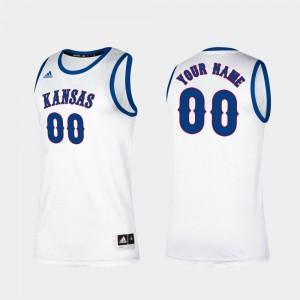 Men #00 College Customized Jersey White Basketball Kansas Jayhawks Classic