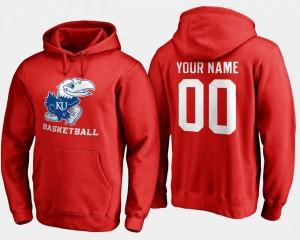 Kansas Jayhawks #00 Mens Basketball - College Customized Hoodie Red