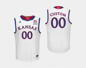 Mens Kansas College Customized Jersey White Basketball #00