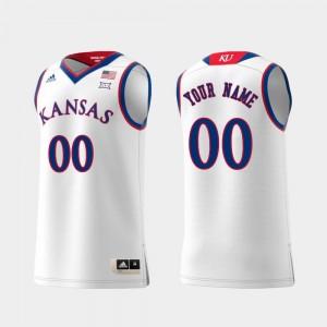 #00 Swingman Basketball College Customized Jerseys University of Kansas White Replica For Men's