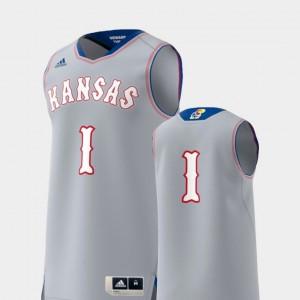 #1 Kansas Jayhawks Gray Replica For Men's College Jersey Basketball Swingman