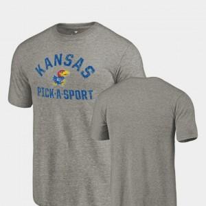 Gray College T-Shirt Mens Pick-A-Sport Kansas Jayhawks Tri-Blend Distressed