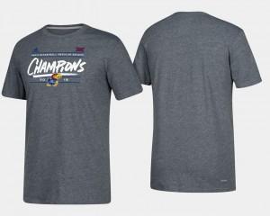 Kansas College T-Shirt 2018 Big 12 Champions For Men Basketball Regular Season Heather Gray