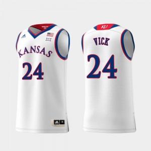 #24 Swingman Basketball Lagerald Vick College Jersey Kansas White Replica Men's