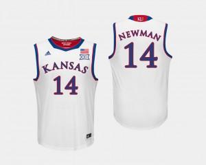 For Men's White #14 Malik Newman College Jersey Basketball Kansas Jayhawks