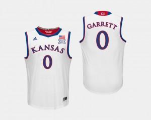 White Mens Marcus Garrett College Jersey University of Kansas #0 Basketball