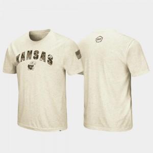 College T-Shirt University of Kansas OHT Military Appreciation For Men's Desert Camo Oatmeal