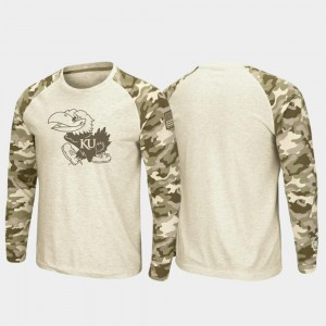 Kansas College T-Shirt OHT Military Appreciation Raglan Long Sleeve Desert Camo Oatmeal Mens