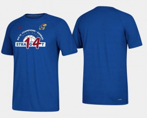 College T-Shirt Mens Kansas Jayhawks Royal Basketball Regular Season 2018 Big 12 Champions 14 Straight