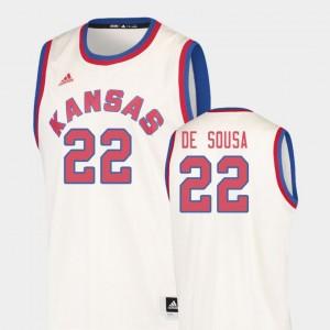 Men's Kansas Jayhawks Silvio De Sousa College Jersey Cream Hardwood Classics Basketball #22