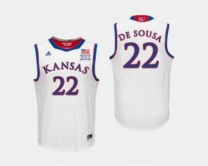 Silvio De Sousa College Jersey Men University of Kansas Basketball #22 White