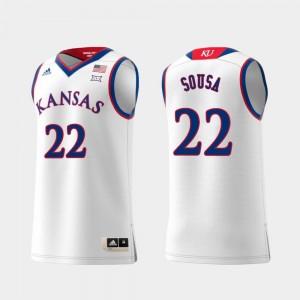 #22 Swingman Basketball White University of Kansas Silvio De Sousa College Jersey Replica Men's