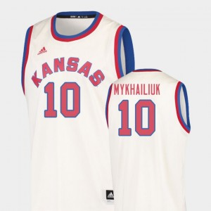 Cream Basketball Mens #10 Sviatoslav Mykhailiuk College Jersey Hardwood Classics University of Kansas