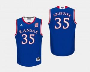 Mens #35 Kansas Jayhawks Royal Udoka Azubuike College Jersey Basketball