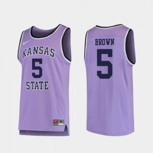 #5 Men's Basketball Purple Barry Brown Jr. College Jersey Replica K-State