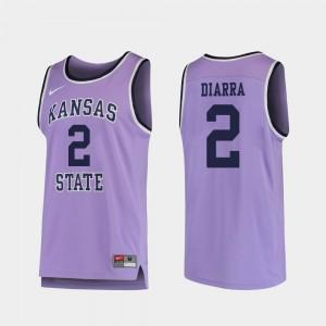 Purple Cartier Diarra College Jersey Basketball #2 Kansas State University For Men's Replica