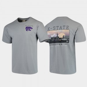 Comfort Colors Gray College T-Shirt K-State Mens Campus Scenery