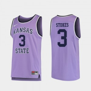 Kansas State #3 Kamau Stokes College Jersey Purple Replica For Men Basketball