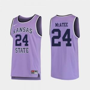 Mens Replica Kansas State Wildcats Basketball Pierson McAtee College Jersey #24 Purple