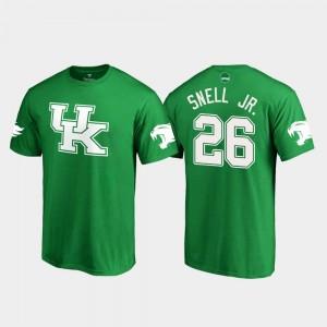 Kelly Green St. Patrick's Day Benny Snell Jr. College T-Shirt Mens Kentucky #26 White Logo Football
