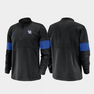 Kentucky Wildcats College Jacket Men's Black Half-Zip Performance 2019 Coaches Sideline