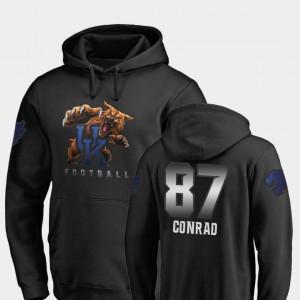 Football Midnight Mascot Black University of Kentucky C.J. Conrad College Hoodie For Men #87