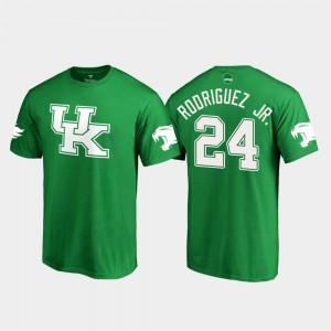 White Logo Football Christopher Rodriguez Jr. College T-Shirt #24 St. Patrick's Day UK Kelly Green Men's