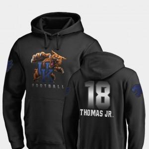 University of Kentucky Football For Men Clevan Thomas Jr. College Hoodie Midnight Mascot #18 Black