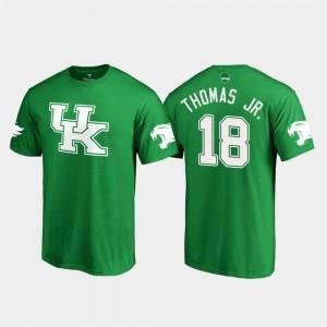 Kelly Green St. Patrick's Day White Logo Football Mens Kentucky Wildcats #18 Clevan Thomas Jr. College T-Shirt