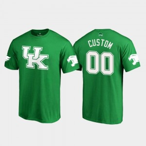 White Logo College Customized T-Shirt Kelly Green #00 St. Patrick's Day Kentucky Wildcats Men's