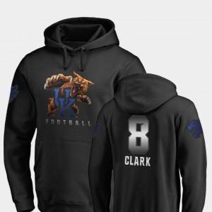 University of Kentucky Football #8 Men Danny Clark College Hoodie Black Midnight Mascot