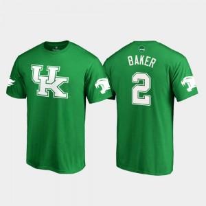 #2 For Men's White Logo Football Wildcats Kelly Green Dorian Baker College T-Shirt St. Patrick's Day