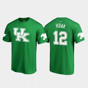Kentucky Wildcats For Men #12 Gunnar Hoak College T-Shirt White Logo Football St. Patrick's Day Kelly Green