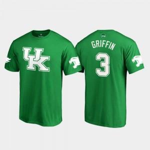 St. Patrick's Day Jordan Griffin College T-Shirt White Logo Football Kelly Green #3 Men's UK