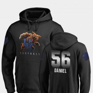 Kentucky Wildcats Midnight Mascot Football #56 Black Kash Daniel College Hoodie For Men