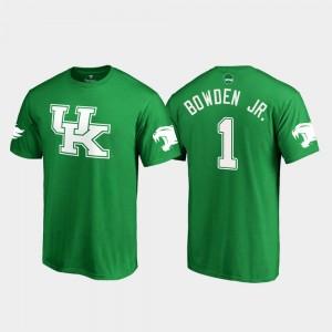 Lynn Bowden Jr. College T-Shirt For Men's #1 University of Kentucky Kelly Green St. Patrick's Day White Logo Football