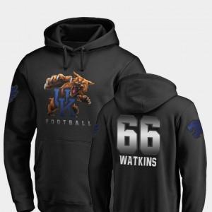 Football Naasir Watkins College Hoodie Black #66 Midnight Mascot University of Kentucky Mens