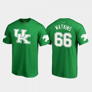 Kelly Green Naasir Watkins College T-Shirt #66 St. Patrick's Day White Logo Football Wildcats For Men