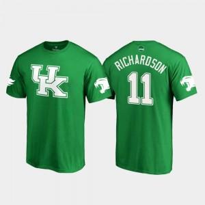 #11 Tavin Richardson College T-Shirt Men St. Patrick's Day Kelly Green White Logo Football Kentucky