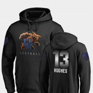 University of Kentucky Football #13 Black Men's Midnight Mascot Zy'Aire Hughes College Hoodie