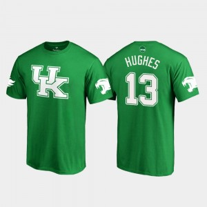 St. Patrick's Day For Men's White Logo Football Kelly Green #13 Wildcats Zy'Aire Hughes College T-Shirt
