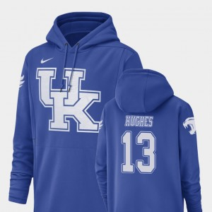 Zy'Aire Hughes College Hoodie For Men's Football Performance #13 Kentucky Royal Champ Drive