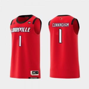 Christen Cunningham College Jersey Red For Men's Basketball University Of Louisville #1 Replica
