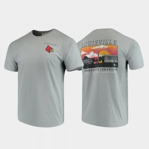 College T-Shirt Campus Scenery Mens Louisville Comfort Colors Gray