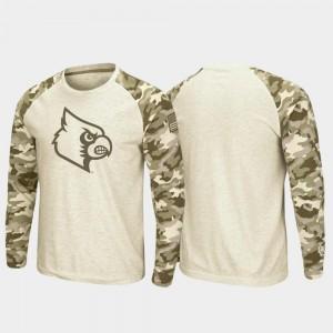Men's OHT Military Appreciation Oatmeal College T-Shirt Louisville Raglan Long Sleeve Desert Camo