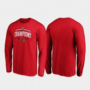 For Men's Cardinals Corner Long Sleeve College T-Shirt 2019 Music City Bowl Champions Red