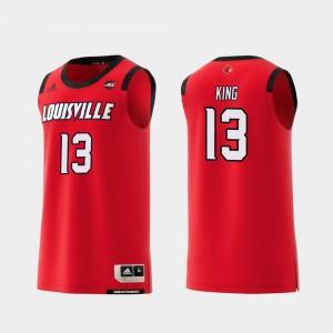 Men #13 Red Basketball Replica UofL V.J. King College Jersey
